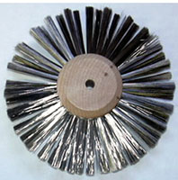 Tufted Strip and Plate Brushes - Satin Finish Jewelers Polishing Brushes - Stainless Steel Wire Satin Finish Wheel Brush